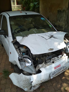 Chevrolet Spark car banged head on