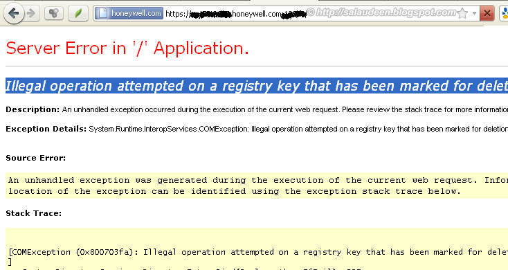 Illegal operation attempted on a registry key that has been marked for deletion - Error in SharePoint Site