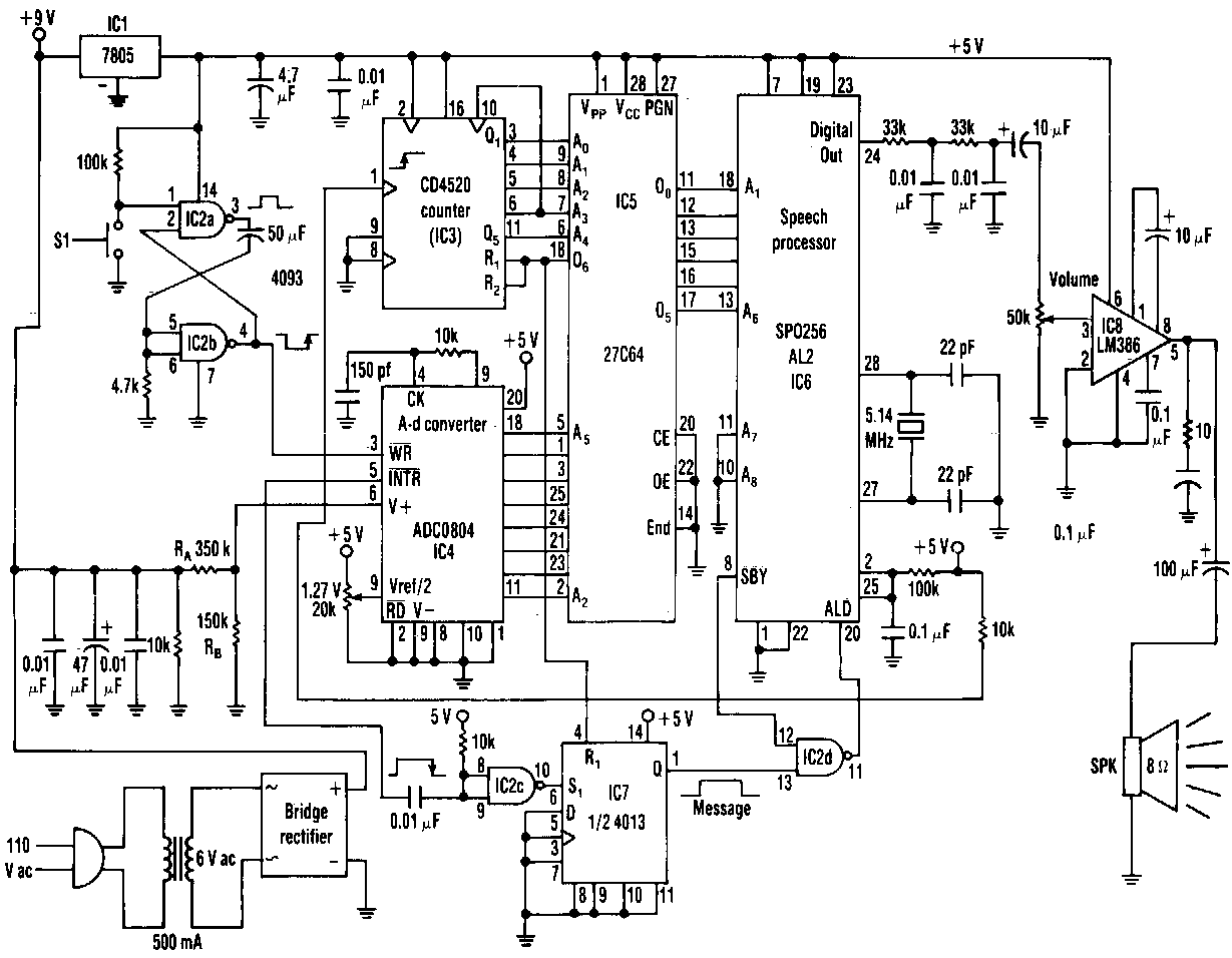 Simple Ac line Voltage Announcer Circuit Diagram