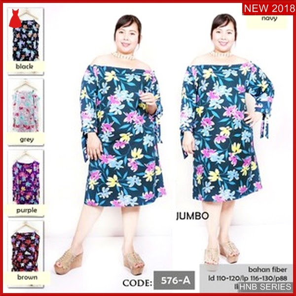 HNB267 Model Terusan Dress Batik Ukuran Besar Jumbo BMG Shop