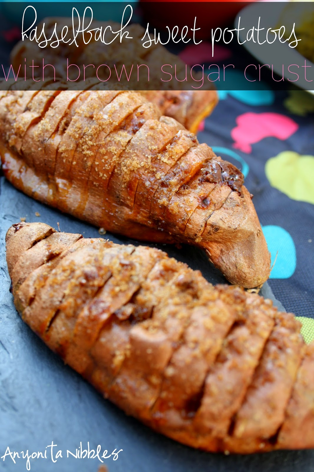 Hasselback Sweet Potatoes with Brown Sugar Crust from Anyonita Nibbles