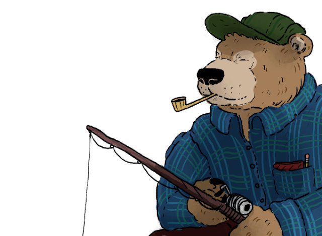 A bear in a blue plaid shirt and green cap going fishing, smoking a pipe