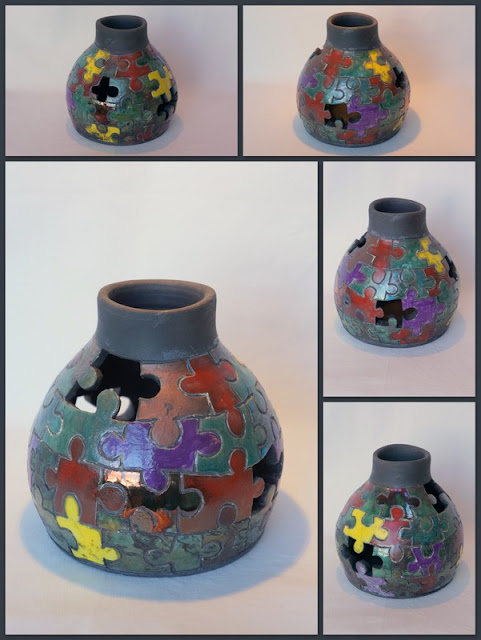 Beautiful raku puzzle vase - pottery by Lily L