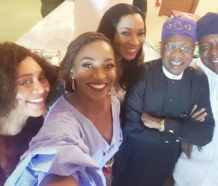 Kate Henshaw, Hilda Dokubo pictured with Lai Mohammed