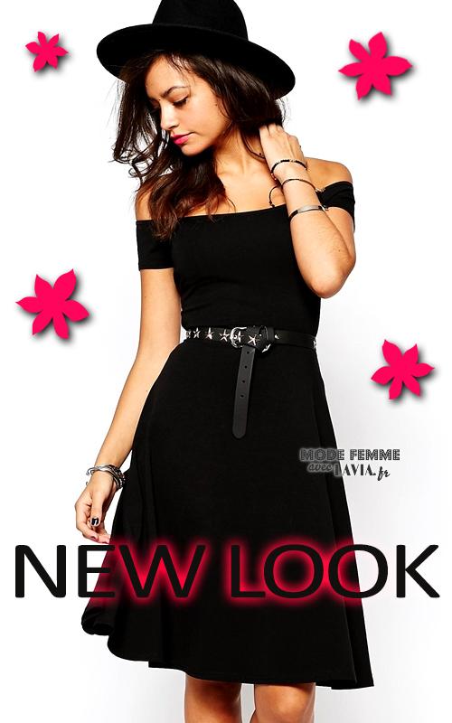 Robe noire mi-longue évasée New Look