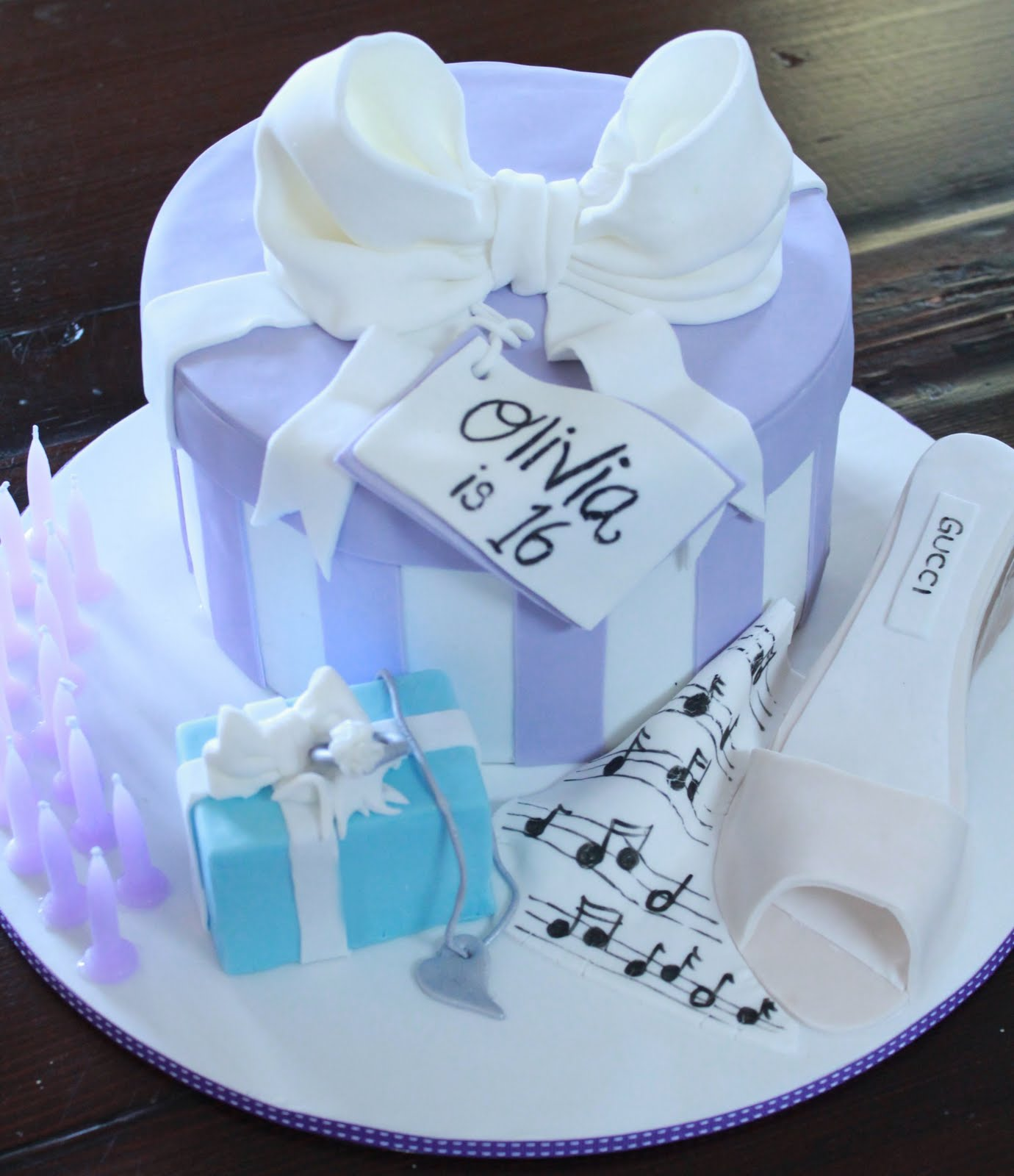 Blissfully Sweet Striped Gift Box Sweet 16th Birthday Cake