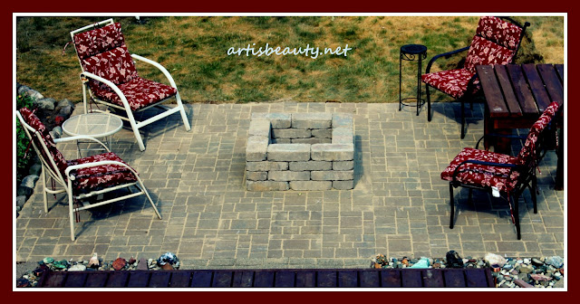 Finished DIY brick patio and Firepit. Backyard do it yourself before and after