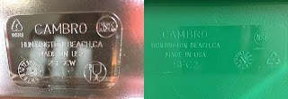 Resin Identification Codes of container (left) #7 PC containing BPA, and lid (right) LDPE #4  https://trimazing.com/