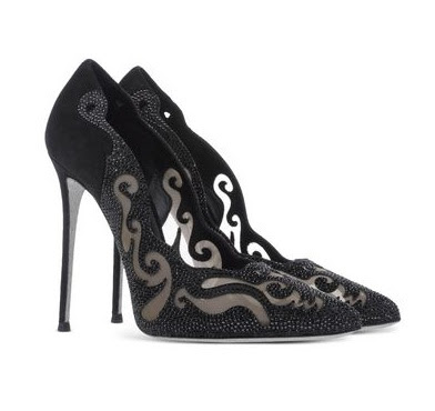 Rene Caovilla Black pumps with laser cut and rhinestone details