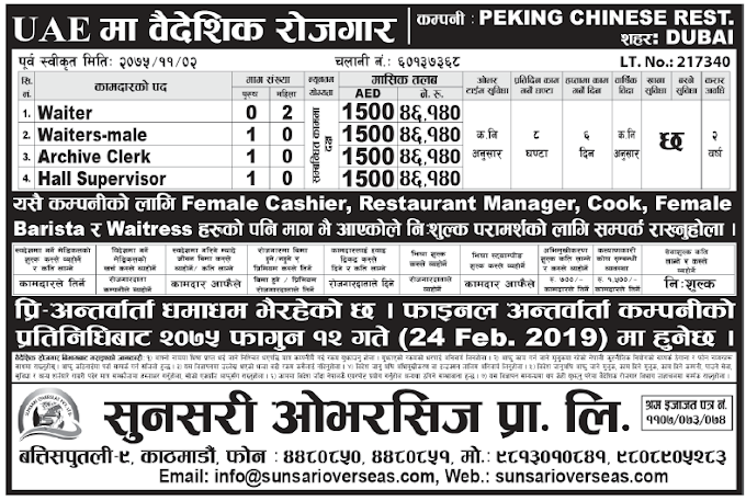 Jobs in UAE for Nepali, Salary Rs 46,140