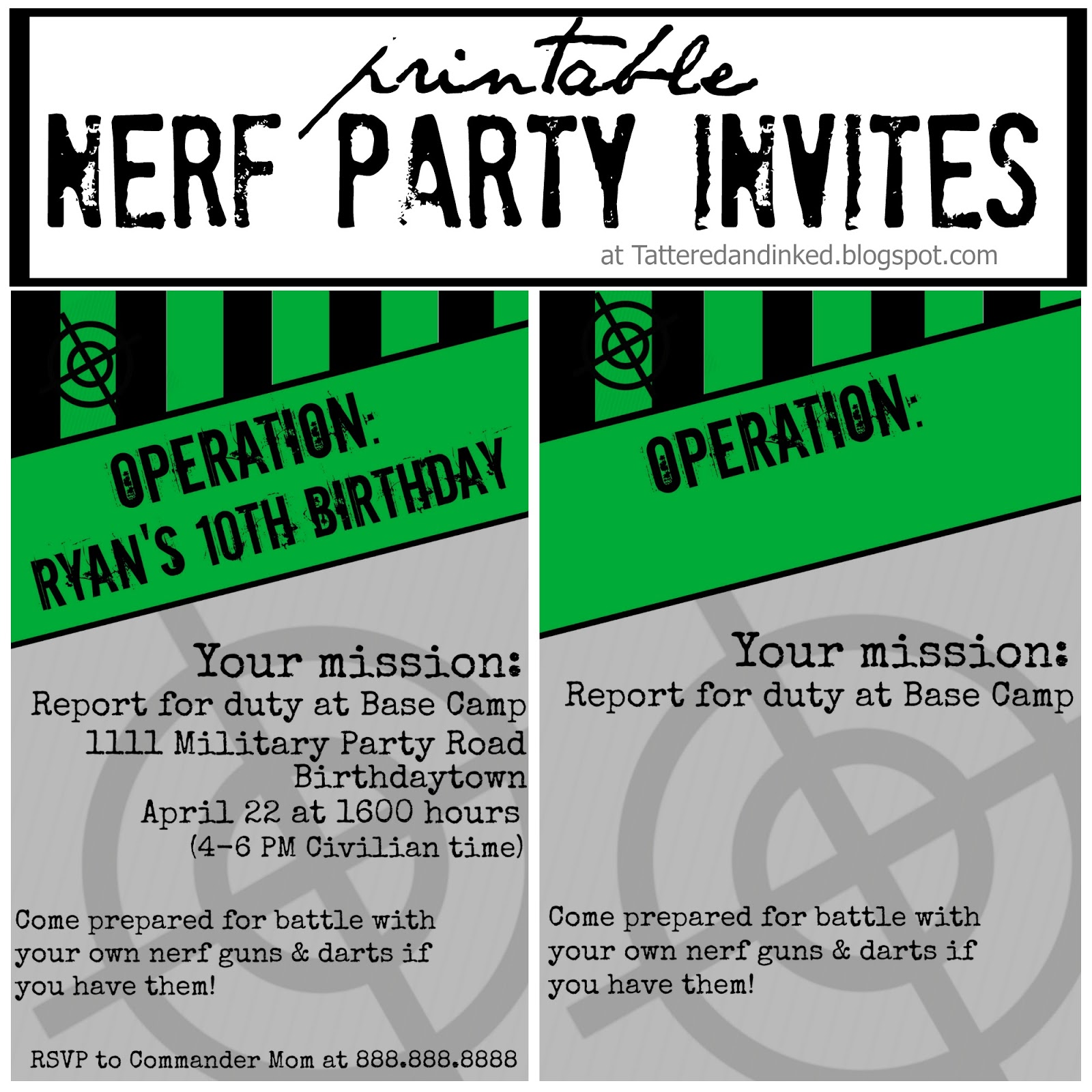 Tattered and Inked Green Black Nerf Birthday Party With FREE