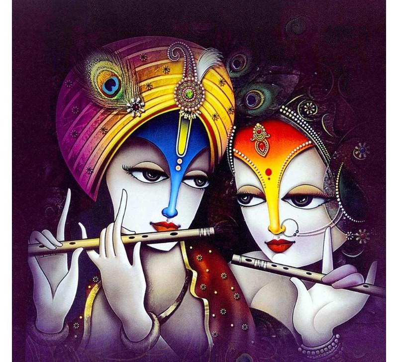 radha krishna hand made painting image for true love