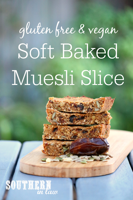 Soft Baked Gluten Free Muesli Slice Recipe - low fat, gluten free, sugar free, clean eating recipe, vegan, healthy, nut free, soy free