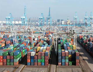 Photo of Containers Stacked in Port.