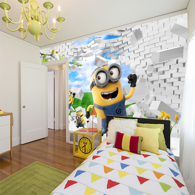 3d wall murals wallpaper Yellow Minions Brick Wall Childrens wall murals kids room Wallpaper Children room Boy Room Wall Mural Bedroom