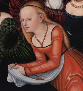 Courtesan in red gown and white apron, Lucas Cranach the Elder, c.1537.