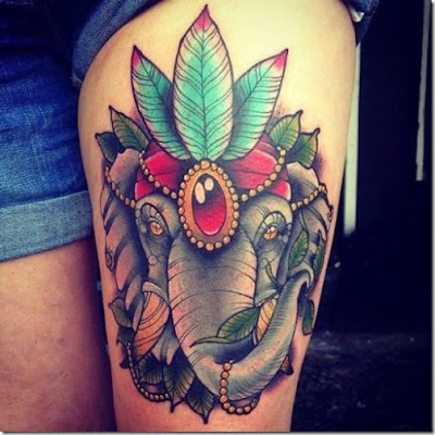 3d elephant tattoo for female