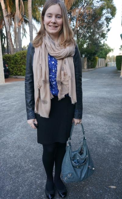 Printed Leather Jacket Pashmina blue shirt black pencil skirt flats hobo bag office wear