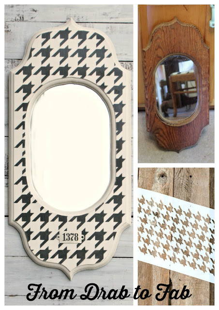 Mirror Upcyle with Houndstooth Stencil #oldsignstencils #dixiebellepaint