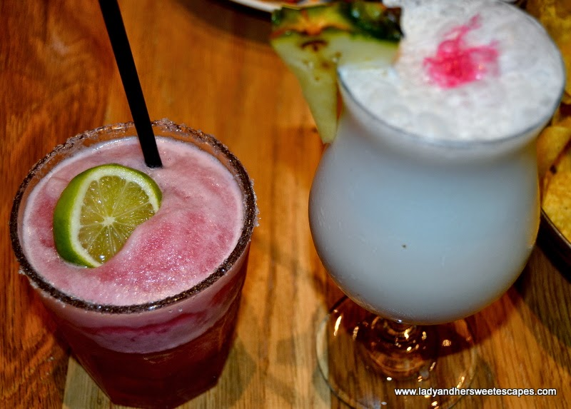 Rosa Mexicano's  Frozen Pomegranate Margarita and Pinacolada