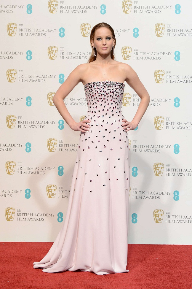 Jennifer Lawrence wears a Christian Dior Couture Gown at the 2013 BAFTA Awards in London