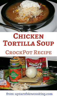 YUM. This is a fantastic lower calorie way to get your Mexican Food fix. This chicken tortilla soup is made at home in the crockpot slow cooker and cooks all day long while you are at work. serves 4 to 6.