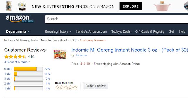 Indomie Mi Goreng Tersedia di Amazon, Netizen Bule Mengulas dan Berikan 5 Bintang