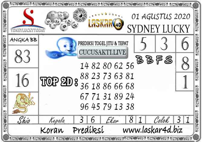 Prediksi Sydney Lucky Today LASKAR4D 01 AGUSTUS 2020