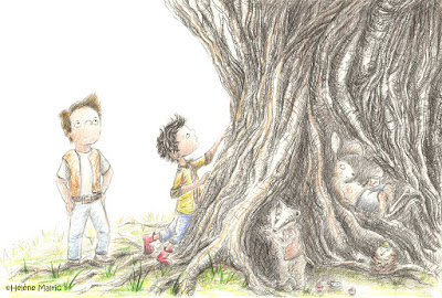 Cooper, crayons gris, gros arbre tortueux