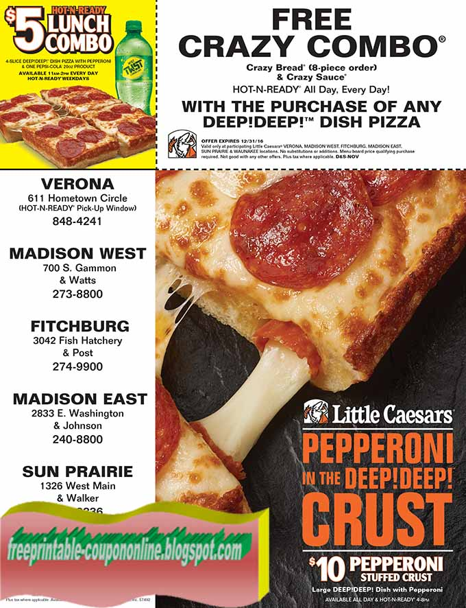 Little caesars printable coupons