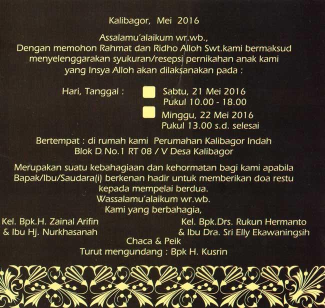 Undangan Virtual & Tercetak pada WEDDING CHACA & PEIK / PERNIKAHAN CHACA & PEIK