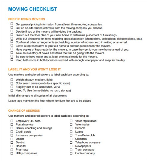 Simple Moving Checklist Template Excel - Excel Template