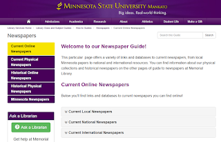 Our newspaper guide on https://libguides.mnsu.edu/newspapers