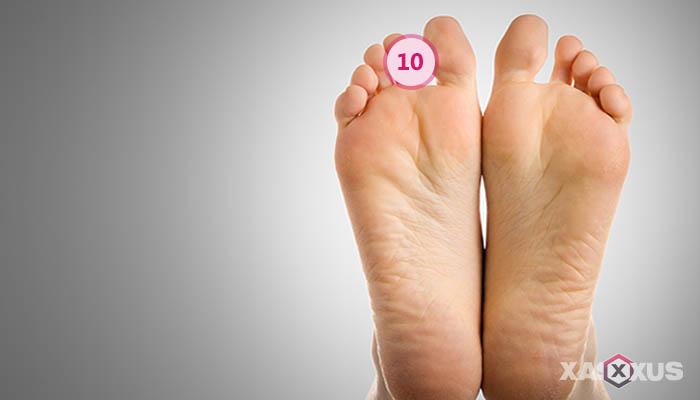 Letak kedutan telapak kaki kanan bagian jari