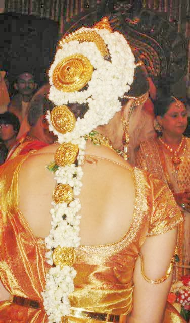 "Bride's hair decorated with ""Gajra"""