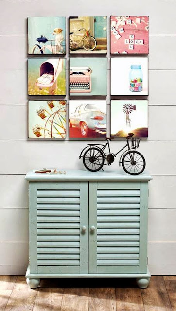 mood board on the wall with bicycle
