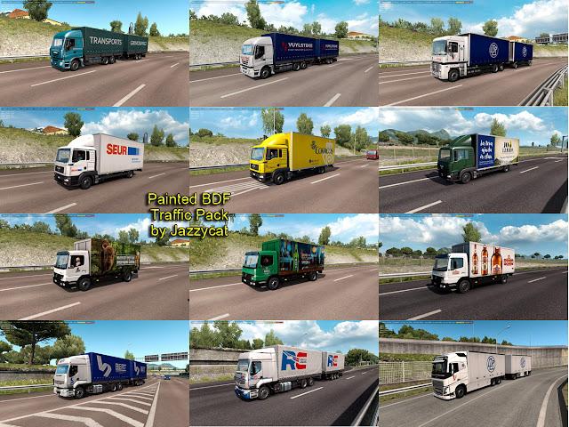 ets 2 painted bdf traffic pack v5.0 screenshots 1, Transports Grimonprez, Transport Vuylsteke, Transports LTR-VIALON, SEUR, CORREOS, Lech, Bert Transport and Services, RC, Okocim