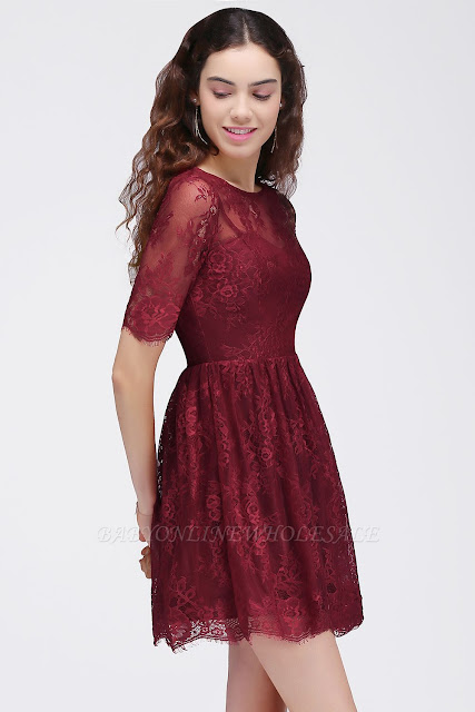 A-Line Round Neck Short Lace Burgundy Homecoming Dresses