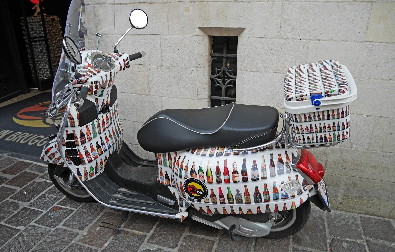 Belgian beer-themed motorbike outside The Beer Wall, Bruges