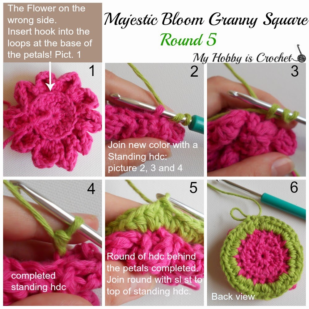Majestic Bloom Granny Square -  Free Crochet Pattern with Tutorial on myhobbyiscrochet.com