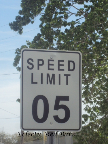 Speed limit sign with 05 miles per hour