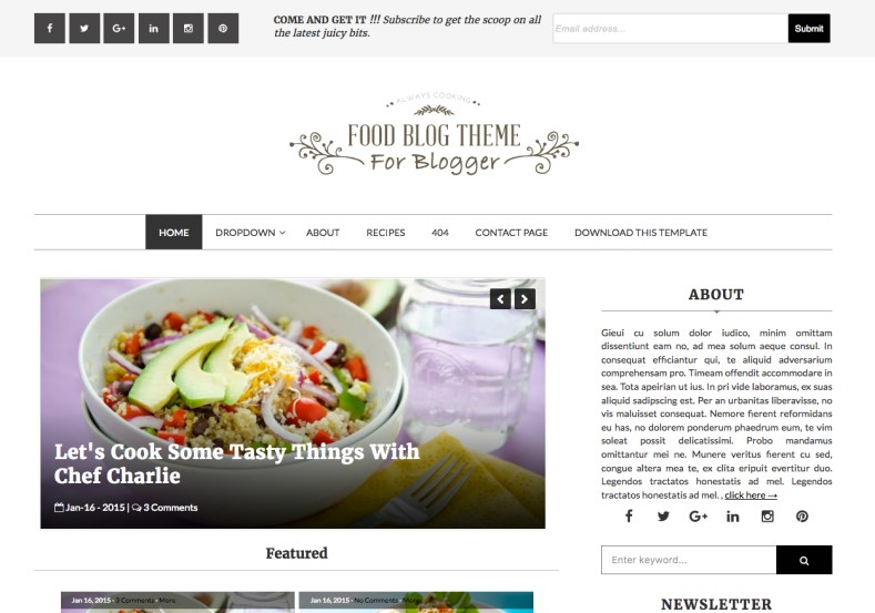 Food blog blogger template blogger templates gallery food blog blogger template forumfinder Choice Image