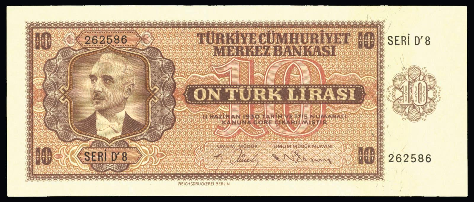 Turkey currency 10 Turkish Lira banknote 1942 İsmet İnönü