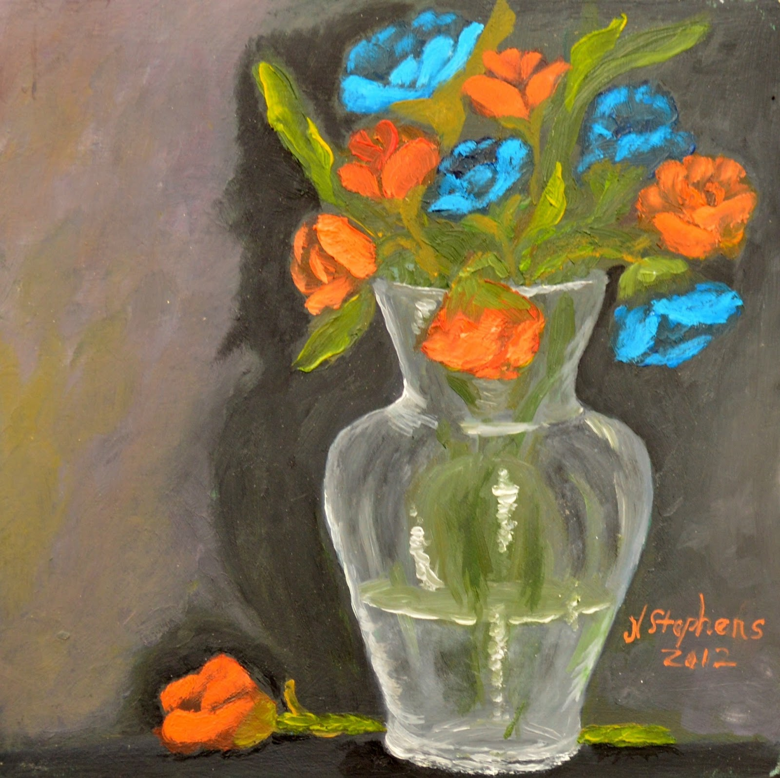 Impressions of Color With Nina Stephens: Roses Orange and Blue