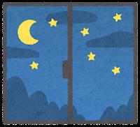 窓の外の天気のイラスト(夜)