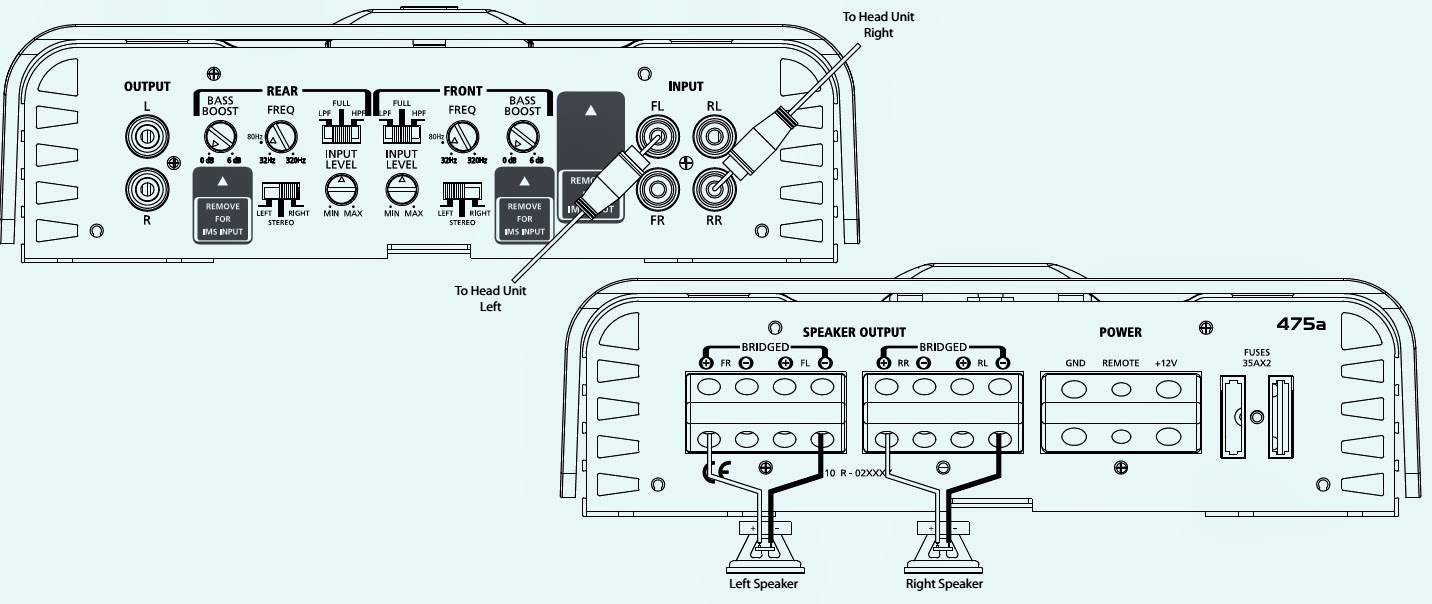 Infinity Ref 475a 432 Channel Power Amplifier Connection Crossover Schematic Only One Is Shown All The Others Are Similar