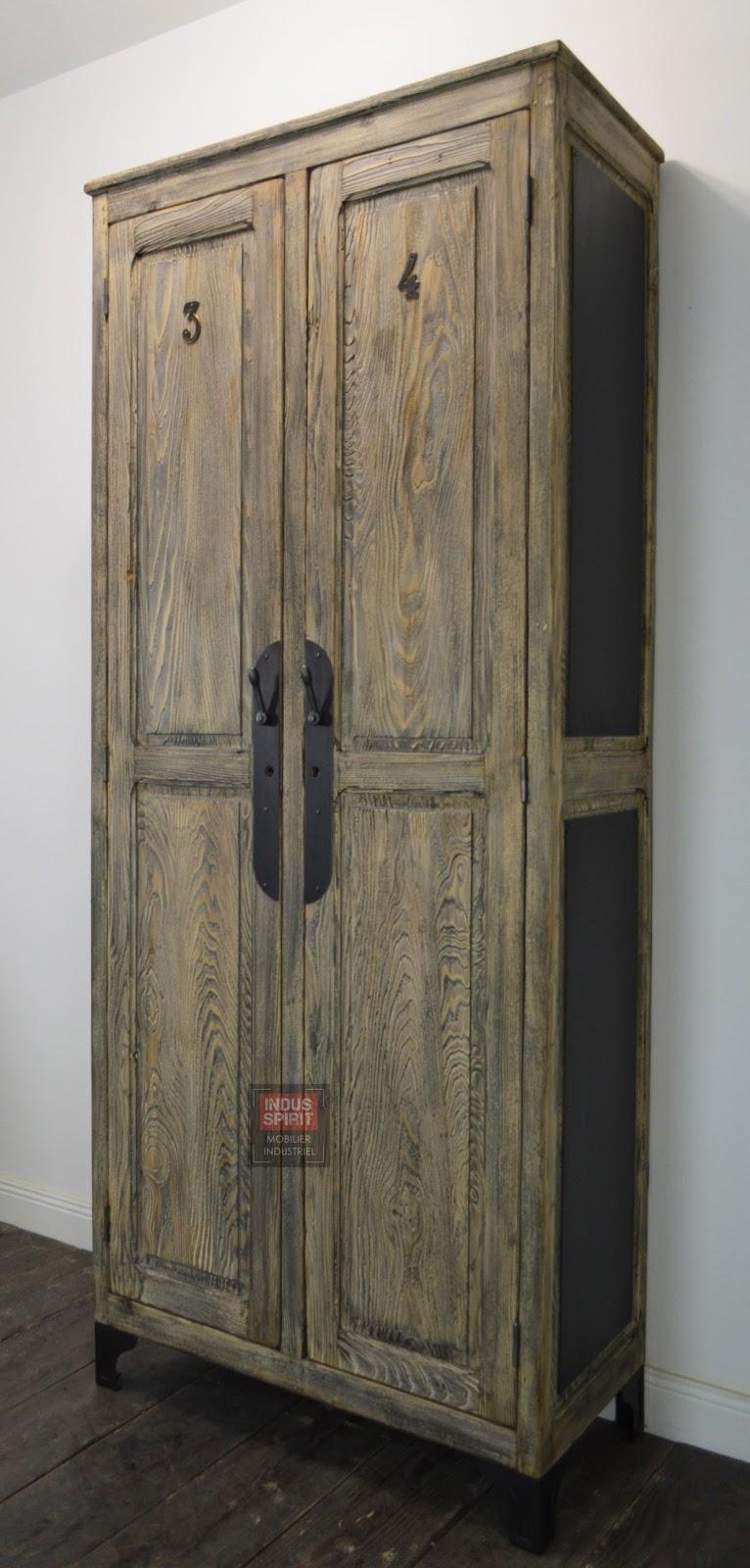 Ancienne armoire bois et m tal - Armoire industrielle ancienne ...