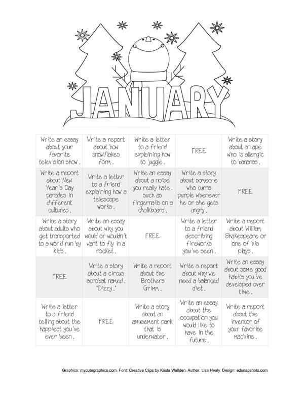 Free Writing Bingo for January   Everyday Snapshots
