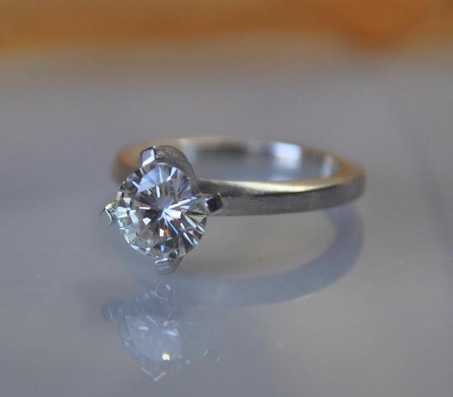 Rose Gold Wedding Band With Platinum Engagement Ring