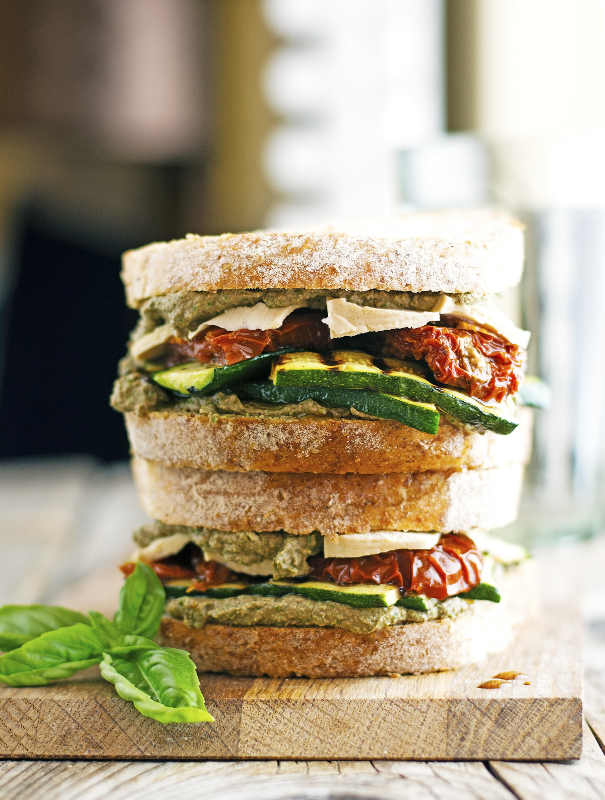 (Vegan) Tofu, Zucchini, Sun-Dried Tomato and Cream of Basil Sandwich